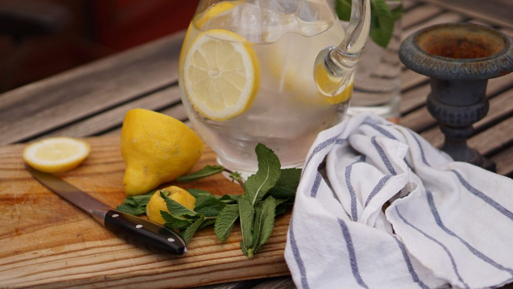 Slices of lemon in water jug