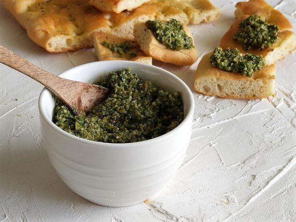 Almond Pesto on Focaccia Bread