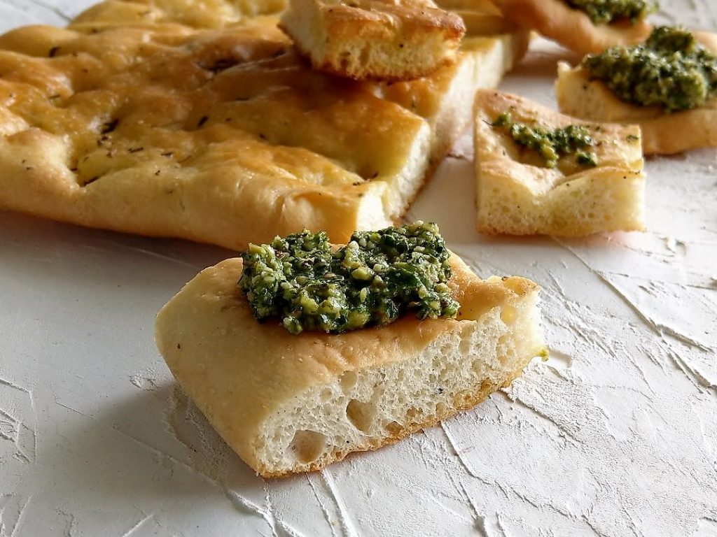 Almond Pesto served on Focaccia Bread