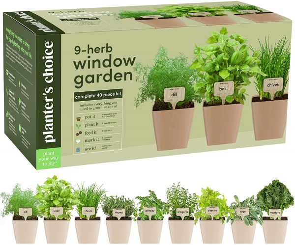 Planter's Choice 9 Herb Window Garden - Best Indoor Herb Garden Kit