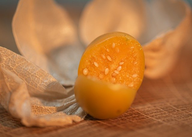 Cape Gooseberry Cut to Show Seed Inside the Fruit