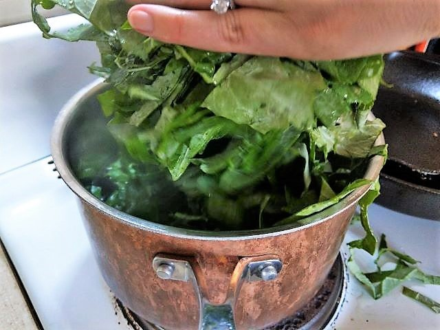 Blanching Kale in Saucepan- How to Freeze Kale