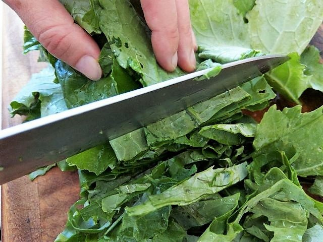 Chopping Kale - How to Freeze Kale