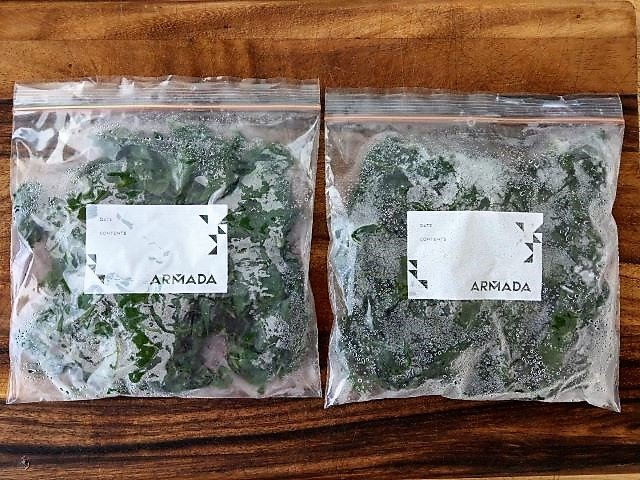 Frozen Kale in Freezer Bags - How to Freeze Kale
