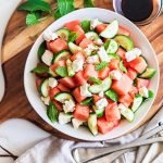Easy Watermelon Salad Recipe with Feta, Mint and Balsamic