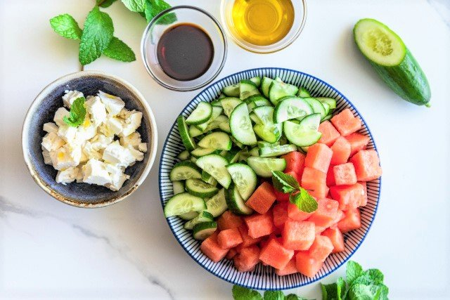 Ingredients for Watermelon Cucumber Mint and Feta Salad Recipe