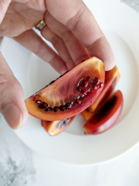 Eating Tamarillo Fruit