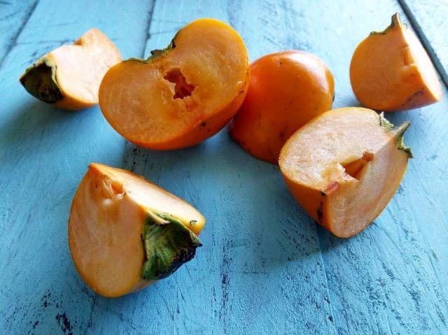 Cut up Persimmon Fruit - inside of persimmon fruit