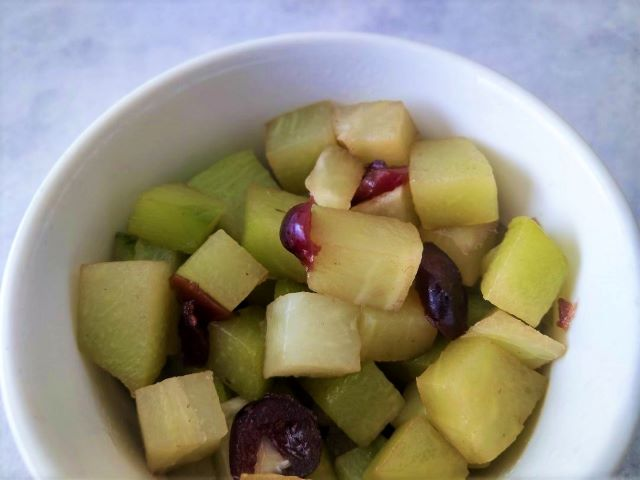 Close-up of Sweet Stewed Chayote Fruit Recipe